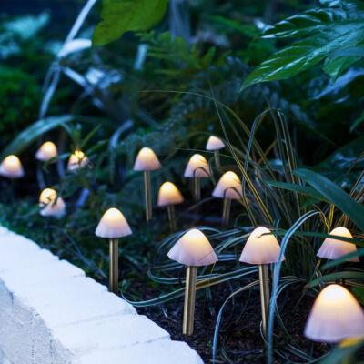 LED-es napelemes lámpa (12 db mini gomba, melegfehér)