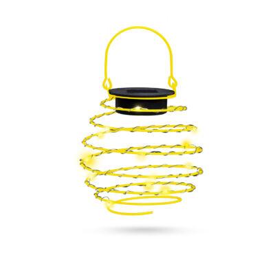 LED-es napelemes spirál gömb lámpa (melegfehér, 12 cm, sárga színben)