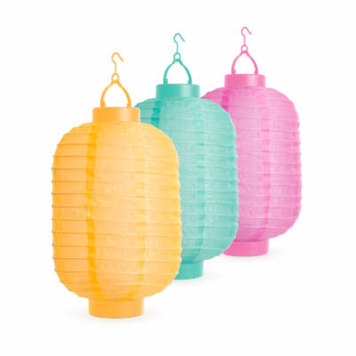 Napelemes lampion (színes, hidegfehér LED, 21 cm)