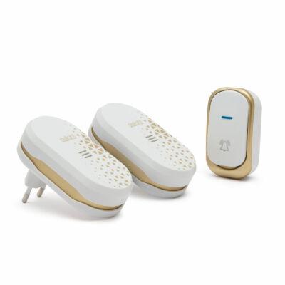 Vezeték nélküli csengő, elemes kültéri, dupla beltéri vevőegységgel (design-os, fehér)