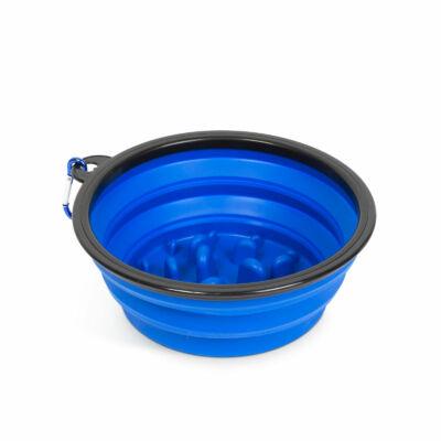 Összenyomható etetőtál (habzsolásgátlóval, kék, 1000 ml)