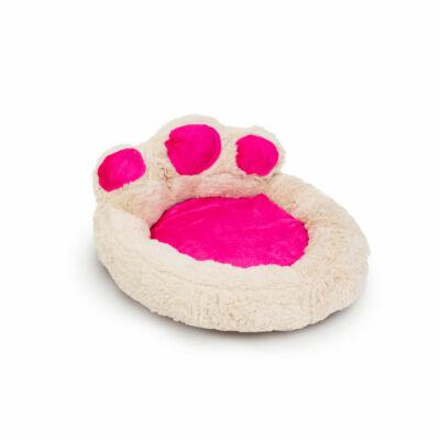 Mancs alakú kutyafekhely (S méret, törtfehér, rózsaszín)