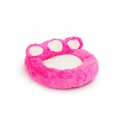 Mancs alakú kutyafekhely (S méret, rózsaszín, törtfehér)