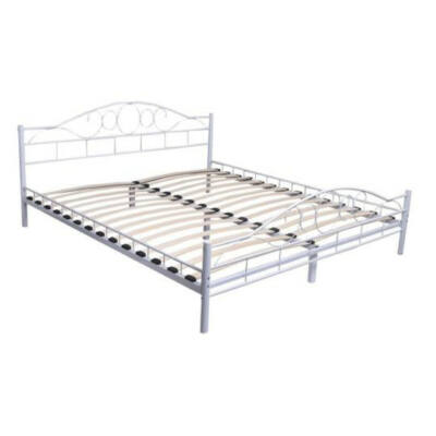 Fém ágykeret ajándék ágyráccsal (140x200cm, fehér)