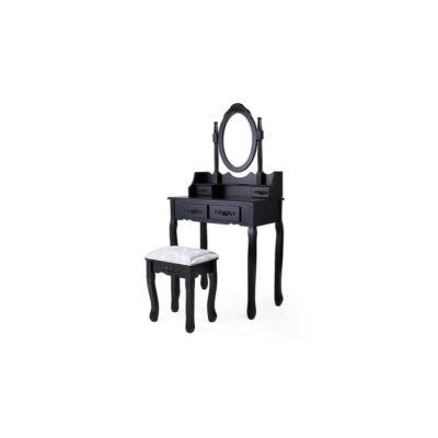 Tükrös fésülködő asztal székkel (Rome, fekete)