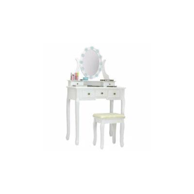 Tükrös fésülködő asztal székkel (Hollywood, fehér)