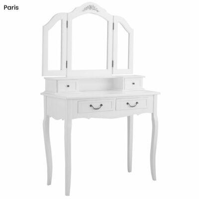 Tükrös fésülködő asztal székkel (Paris, fehér)