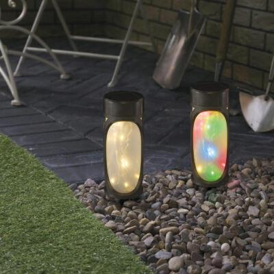 LED-es szolár lámpa (MicroLED, melegfehér + RGB, fekete, 280 mm)