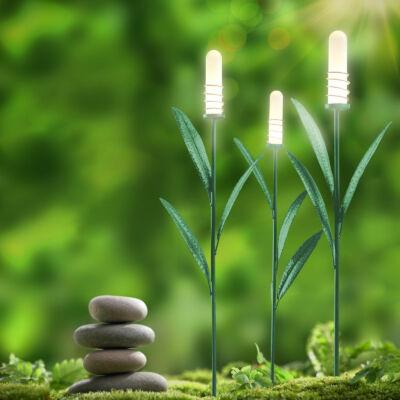 LED-es napelemes lámpa (nád formájú, melegfehér, fém, 3 darabos csomag)