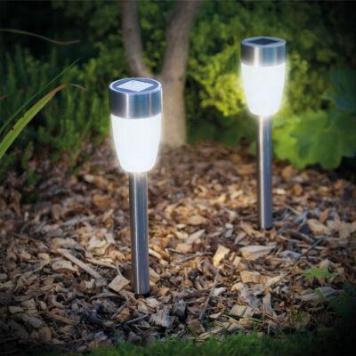 LED-es napelemes lámpa (leszúrható, hidegfehér, fém, 370 mm)
