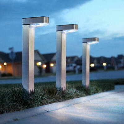 LED-es napelemes lámpa (hidegfehér, szálcsiszolt, fém)