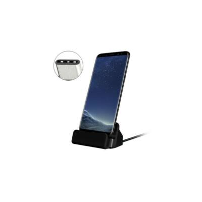 Univerzális USB C asztali töltő (fekete)