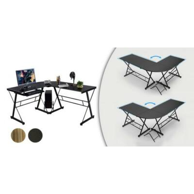 L alakú irodai asztal (fekete)