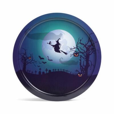 Halloween-i tálca (boszorkány, fém,  31 cm)