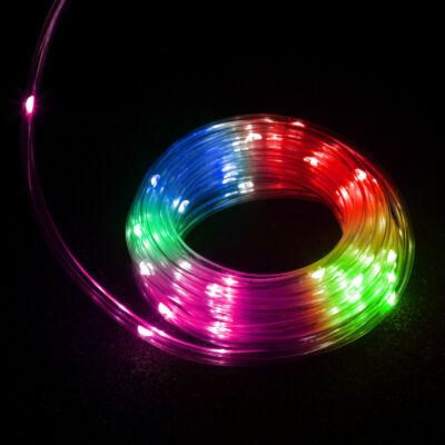 LED fénykábel (50 LED, 5 méter, színes, 3 x AA, IP44)