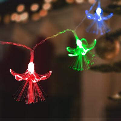LED fényfüzér (virágos, 20 LED, 2,85 méter, színes, 2 x AA)