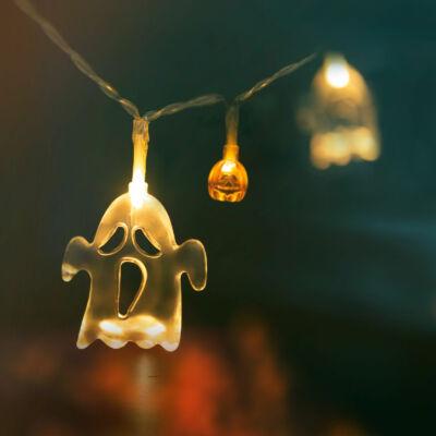 Halloween-i LED-es fényfüzér (szellem, tök, 10 LED, 2 x AA, 1,2 m)