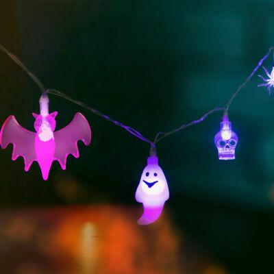 Halloween-i LED-es fényfüzér (4 féle forma, 10 lila LED, 2 x AA, 1,35 m)