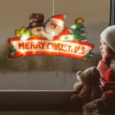 Nagyméretű LED-es ablakdekor (mikulás, hóember, 45 x 24 cm, melegfehér, 3 x AAA)