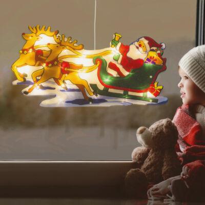 Nagyméretű LED-es ablakdekor (rénszarvas, mikulás, 45 x 24 cm, melegfehér, 3 x AAA)