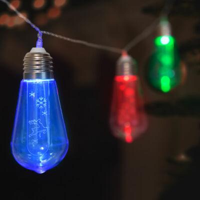 LED fényfüzér, villanykörte (10 LED, 1,9 méter, színes, 2 x AA)