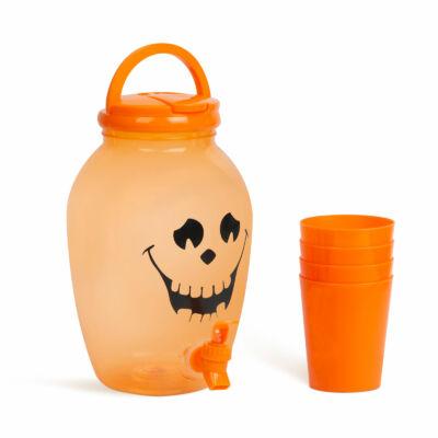 Italadagoló csappal, műanyag pohárszettel (halloweeni tök, 4,4 l)