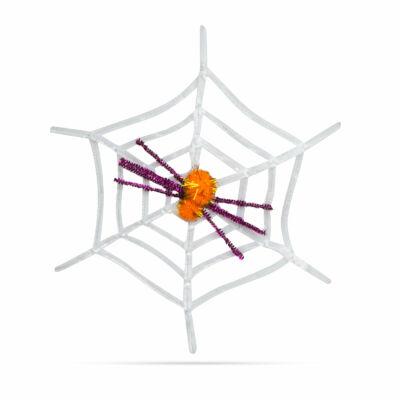 Pókháló pókkal (halloween-i dekoráció, fehér)