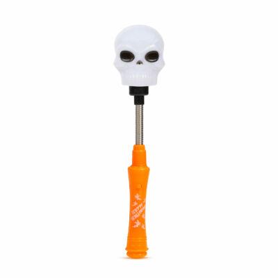 Halloween-i LED lámpa (rugós koponya, elemes)