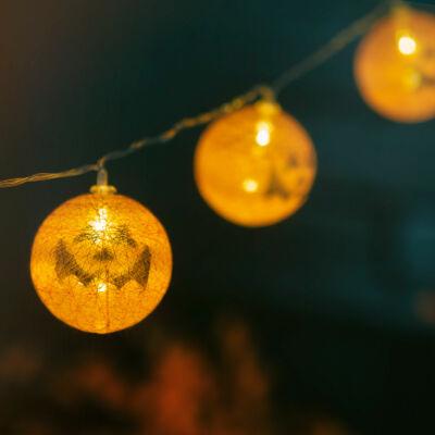 Halloween-i LED-es lampion fényfüzér