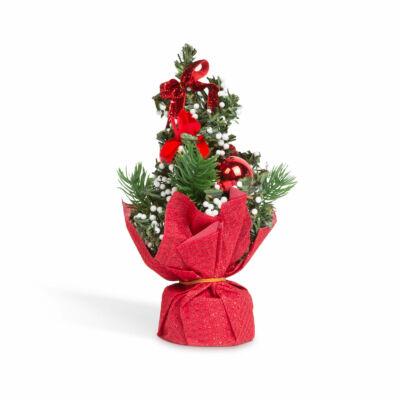 Mini műfenyő (piros díszekkel, 20 cm)