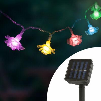 LED szolár fényfüzér,  virág (2,3 m, 20 LED, színes)