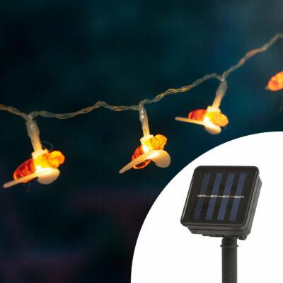 LED szolár fényfüzér, méhecske (2,3 m, 20 LED, melegfehér)