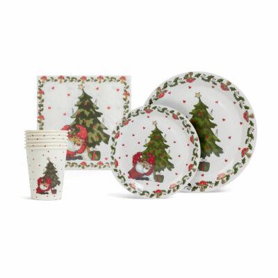 Karácsonyi papír teríték szett (12 tányér, 6 pohár, 20 szalvéta)