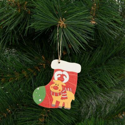 Karácsonyfadísz, mikuláscsizma (akasztható, 9 x 10 cm)