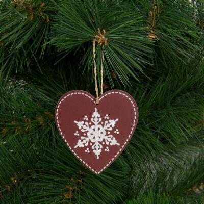 Karácsonyfadísz, szív (akasztható, 9 x 9 cm)