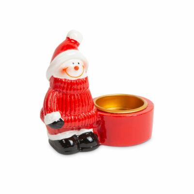 Karácsonyi teamécses tartó (hóember)