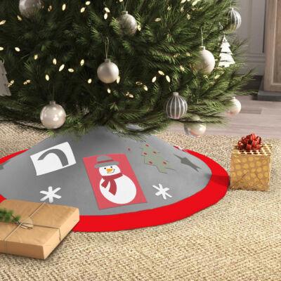 Karácsonyfa alá terítő (97 cm, poliészter, piros / szürke)