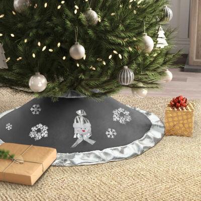 Karácsonyfa alá terítő (97 cm, poliészter, szürke / ezüst)
