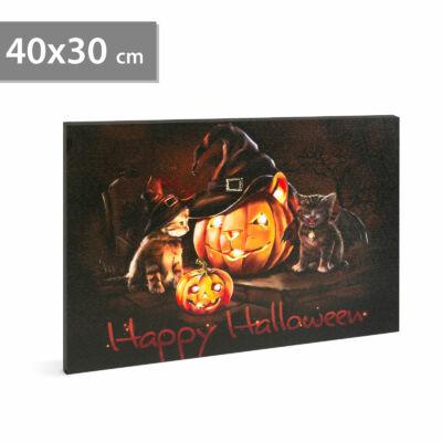 Halloween-i LED-es hangulatkép fali akasztóval (2 x AA, 40 x 30 cm)