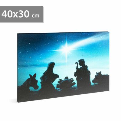 Karácsonyi LED-es hangulatkép fali akasztóval (2 x AA, 40 x 30 cm)