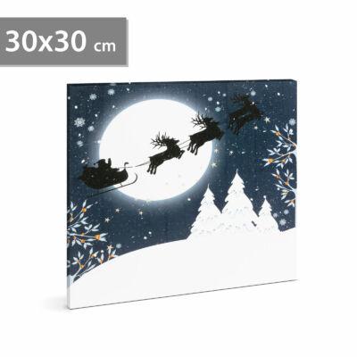 Karácsonyi LED-es hangulatkép fali akasztóval (2 x AA, 30 x 30 cm)