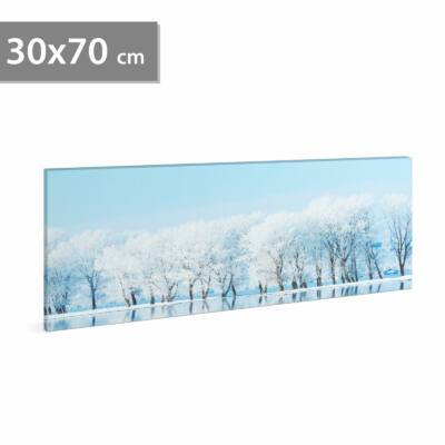 LED-es fali hangulatkép - téli táj (2 x AA, 70 x 30 cm)