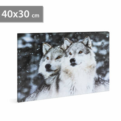 LED-es fali hangulatkép - farkas (2 x AA, 40 x 30 cm)