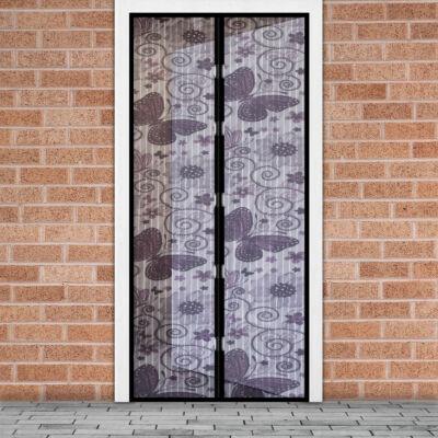 Mágneses szúnyogháló függöny ajtóra (100 x 210 cm, Lila pillangós)