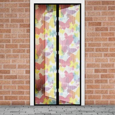 Mágneses szúnyogháló függöny ajtóra (100 x 210 cm, színes pillangós)