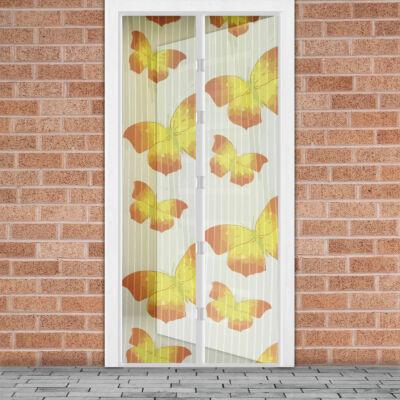 Mágneses szúnyogháló függöny ajtóra (100 x 210 cm, sárga pillangós)