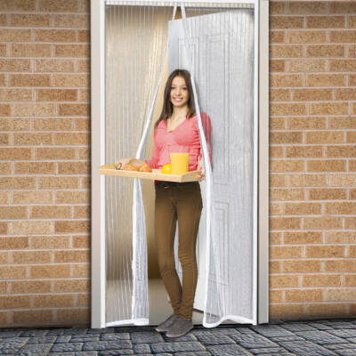 Szúnyogháló függöny ajtóra (mágneses, 100 x 210 cm, fehér)