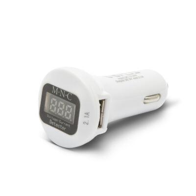 Autós adapter dupla USB töltővel, feszültségmérővel és árammérővel (fehér)
