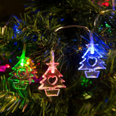 Fényfüzér LED Fenyőfa (színes, elemes, 2 méter)