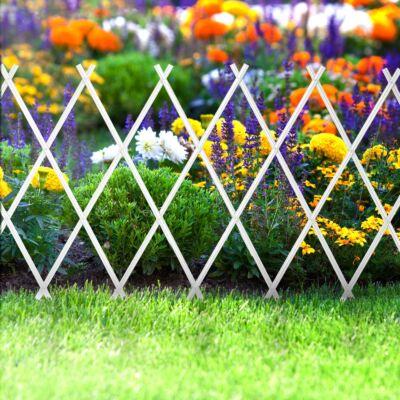 Virágágyás szegély / kerítés (kihúzható, 200 x 100 cm, fehér)